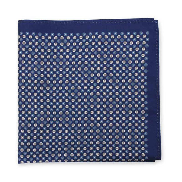 Royal Blue Silk Print Handkerchief