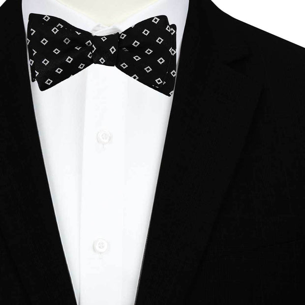 Square Patterned Bow Tie Black Self Bow Tie