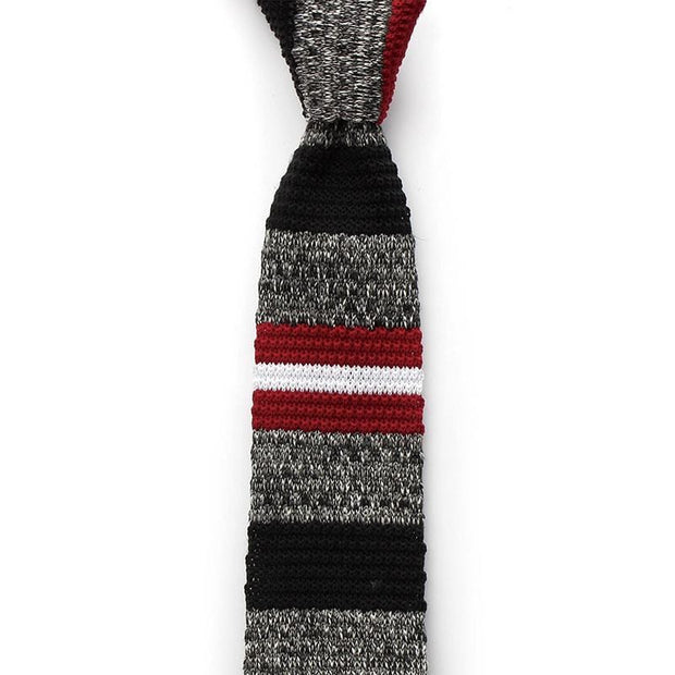 Striped Grey Knitted Tie
