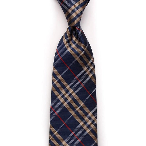 Navy Checked Business Neckties For Formal Event