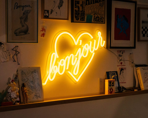 Bonjour (customisable word) - LED neon sign by Jean André