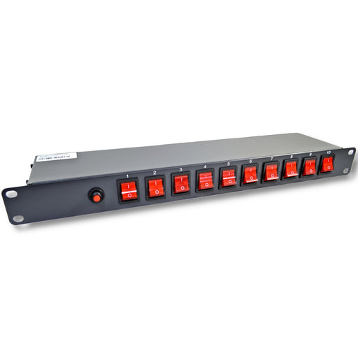 "10 Outlet 15 Amps 125V Power Strip 19"" 1U Rack Mount PDU Surge Protector and Switch Control"