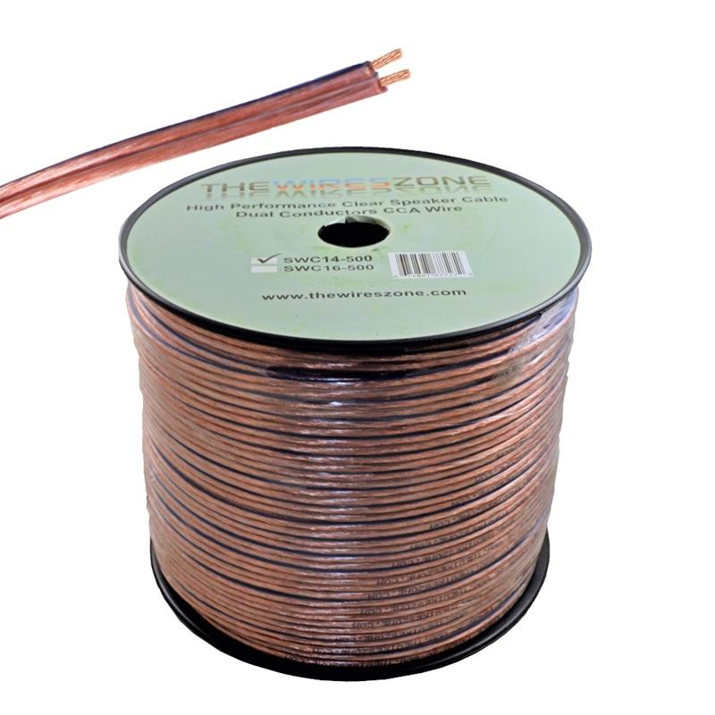 Clear 500ft 14 Gauge Speaker Cable Dual Conductors CCA wire for Car / Home Audio