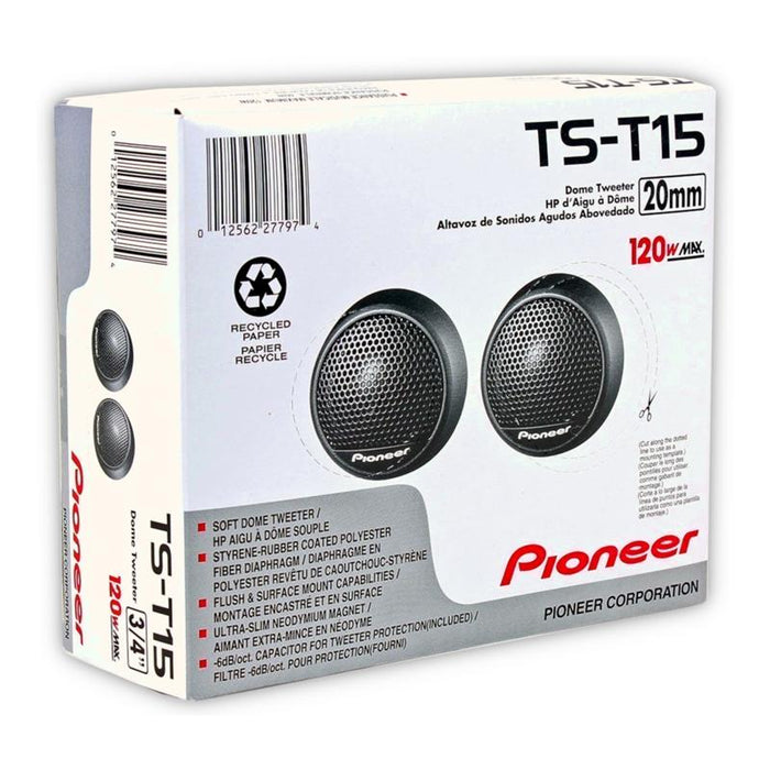"Pioneer TS-T15 3/4"" Soft Dome Tweeter with 120 Watts Maximum Power (Pair)"