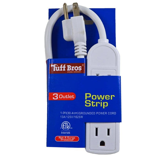 1' White Durable Heavy Duty 3 Outlet 13A/125V/1625W 16AWG Power Strip