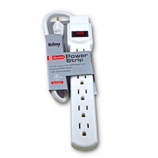 White 6-Outlet Heavy Duty 3-Prong Plug Power Strip - 1.6Ft 14/3 AWG Cord