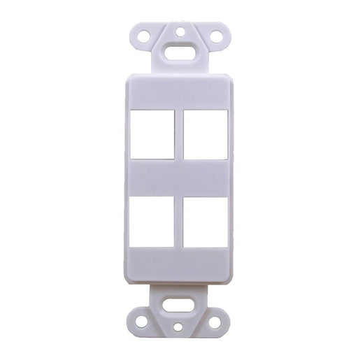 White 4-Port Decora Keystone Jack Wall Insert
