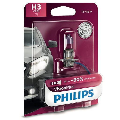 Philips 12336VPB1 H3 Vision Plus Halogen 55 Watts Car Light Bulb- Pack of 1