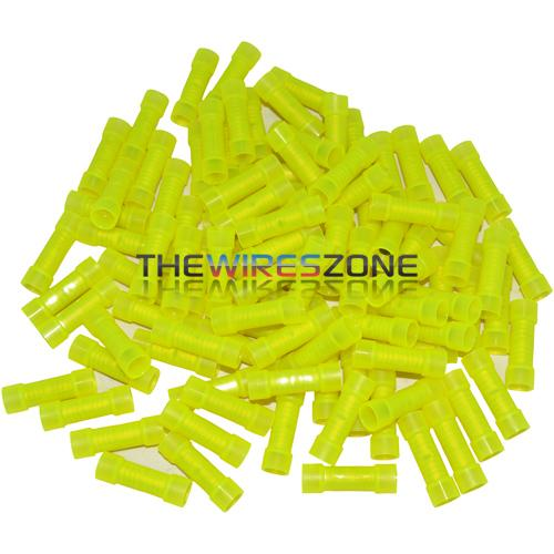 The Install Bay YNBC Yellow Nylon 12/10 Gauge Butt Connector (100/pk)