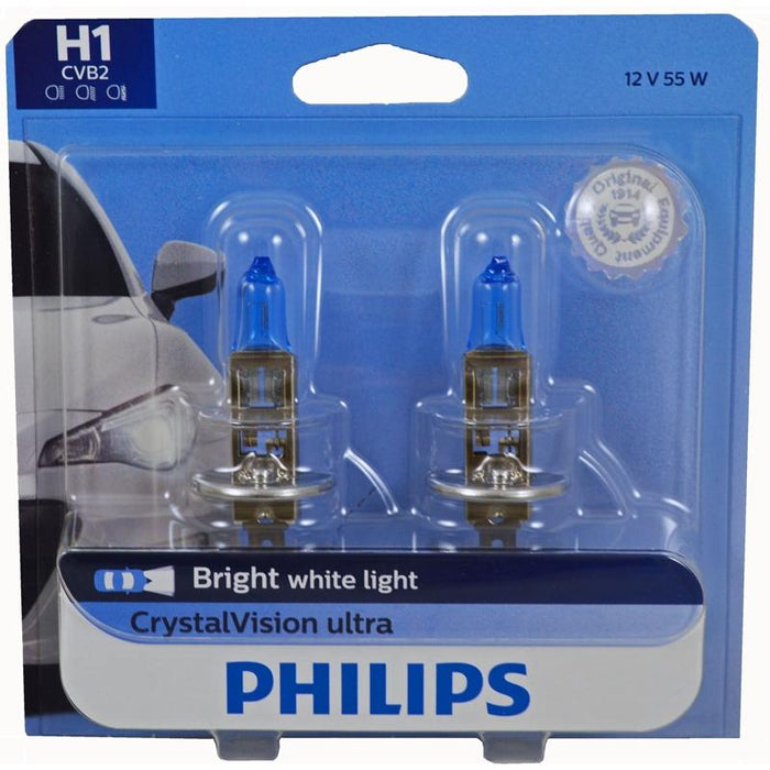 Philips Crystal Vision Ultra H1 12V 55W Bright White Headlight Bulb pair