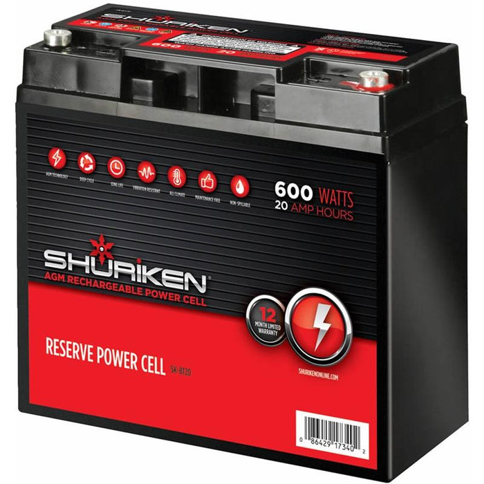 Shuriken SK-BT20 600 Watts 20 Amp Hours Compact Size AGM 12V Battery