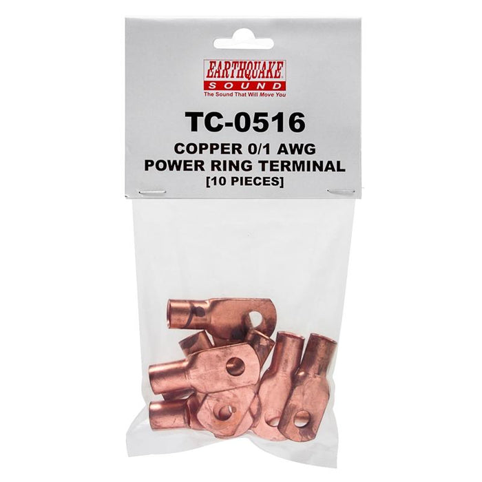 "Earthquake Sound TC-0516 Copper 1/0 Gauge 5/16"" Ring Terminal (10/pk)"