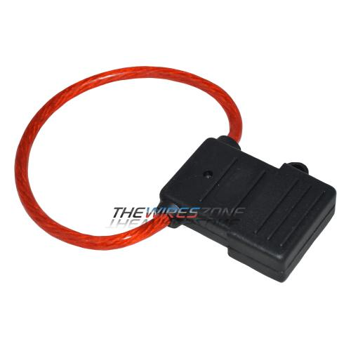 Waterproof Maxi Fuse Holder with Red 8 Gauge Power Cable Wire (each)