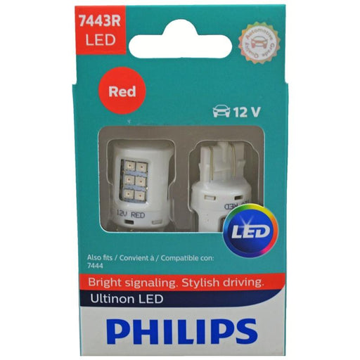 Philips 7443RULRX2 Red LED Bright Reverse Back Up Tail Brake Stop Turn Light Bulb pair