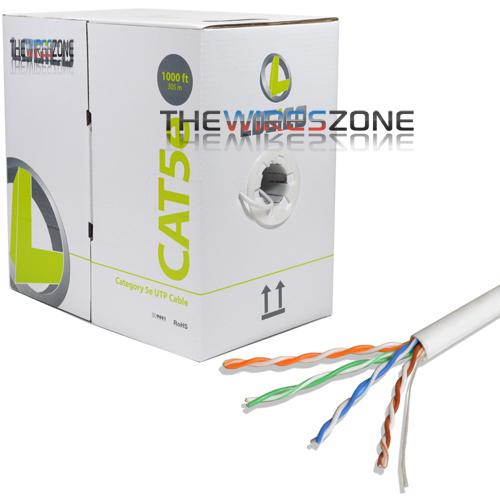 CAT5E UTP White Solid Ethernet LAN Network RJ45 24 AWG 1000' Cable
