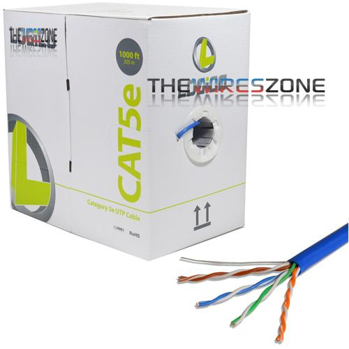 CAT5E UTP Blue Solid Ethernet LAN Network RJ45 24 AWG 1000' Cable