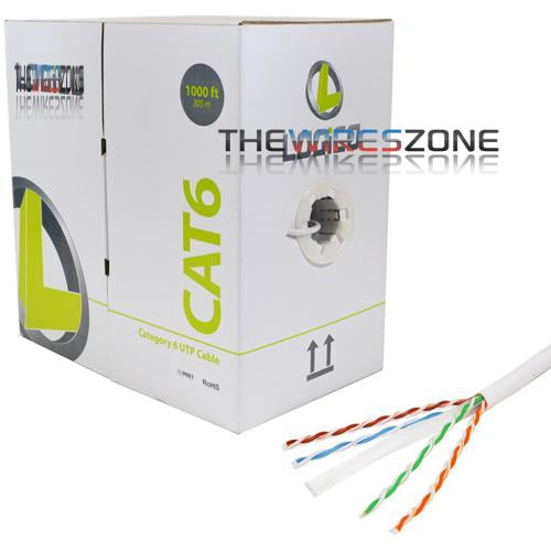 CAT6 Bulk White Communication Ethernet Network 1000 ft 23 AWG Cable