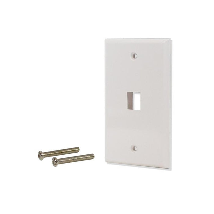 White 1 Port Hole Keystone Jack Flat Wall Plate