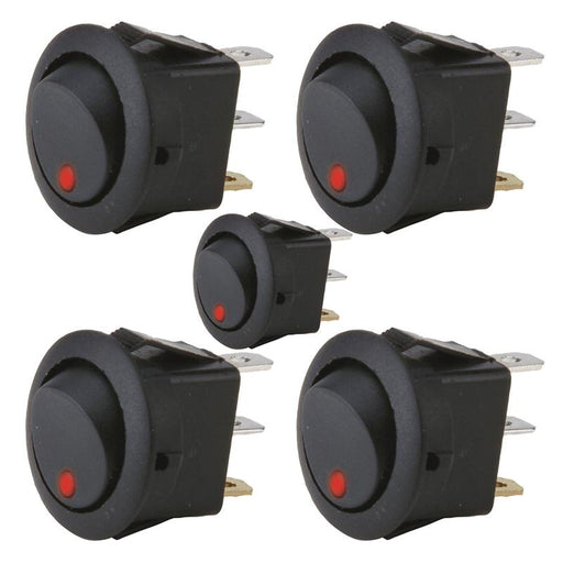 The Install Bay IBRRSR 20 Amp Round Rocker Switch with Red LED (5/pk)