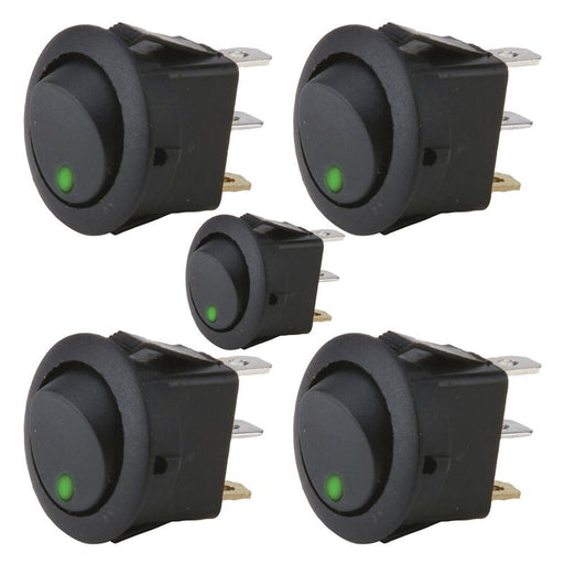 The Install Bay IBRRSG 20 Amp Round Rocker Switch w/ Green LED (5/pk)