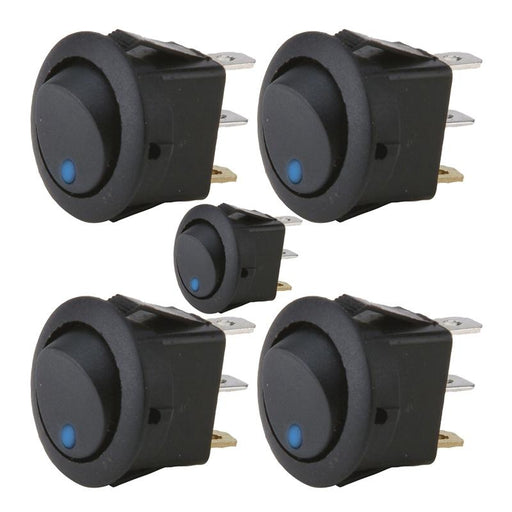 The Install Bay IBRRSB 20 Amp Round Rocker Switch with Blue LED (5/pk)
