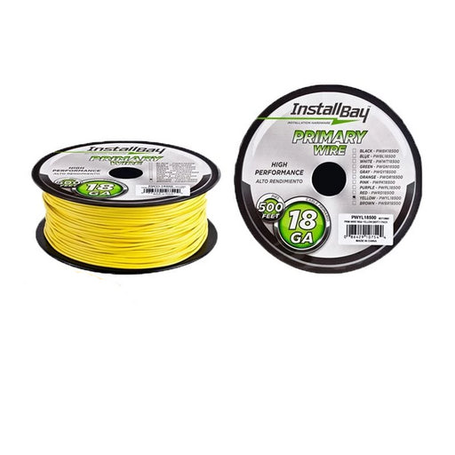The Install Bay PWYL18500 Yellow 18 Gauge 500 Feet Primary Wire