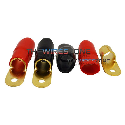 "Raptor R114RT Mid Series Gold 1/0 Gauge 1/4"" Ring Terminal (20/pack)"