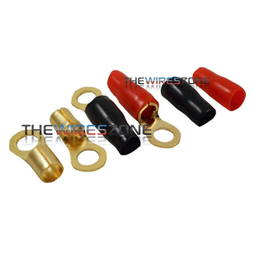 "Raptor R814RT Mid Series Gold 8 Gauge 1/4"" Ring Terminal (20/pack)"