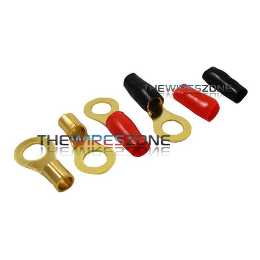 "Raptor R8516RT Mid Series Gold 8 Gauge 5/16"" Ring Terminal (20/pack)"