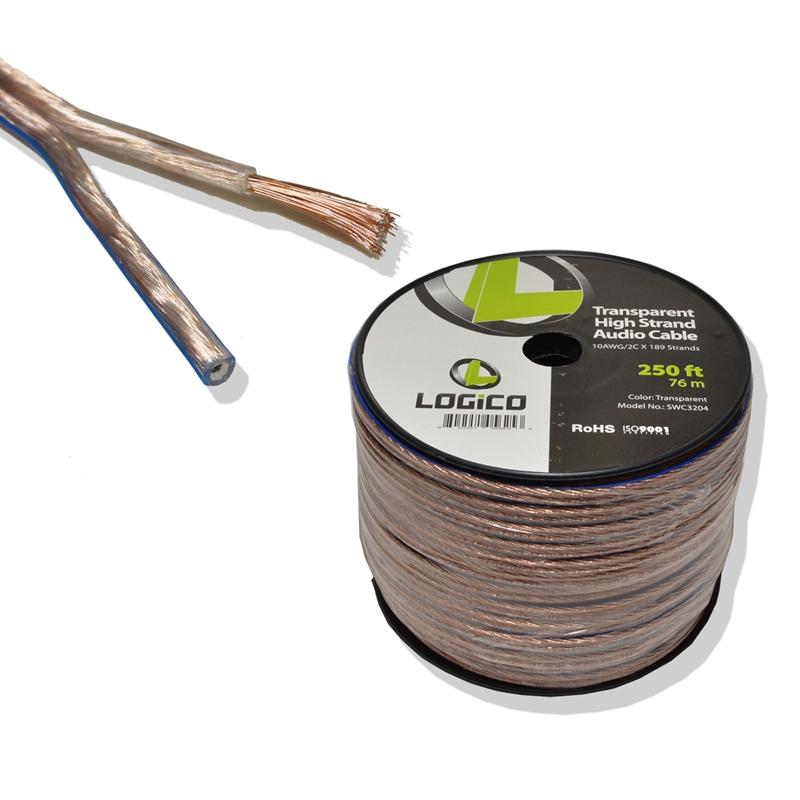 Clear 10 Gauge 2 Conductors 250 Feet High Strand Audio Speaker Wire
