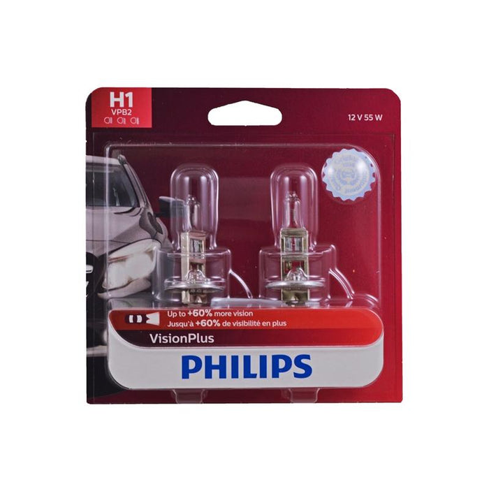 Philips H1 Vision Plus +60% 55W Replacement Head Fog Light Bulb 2 Pack