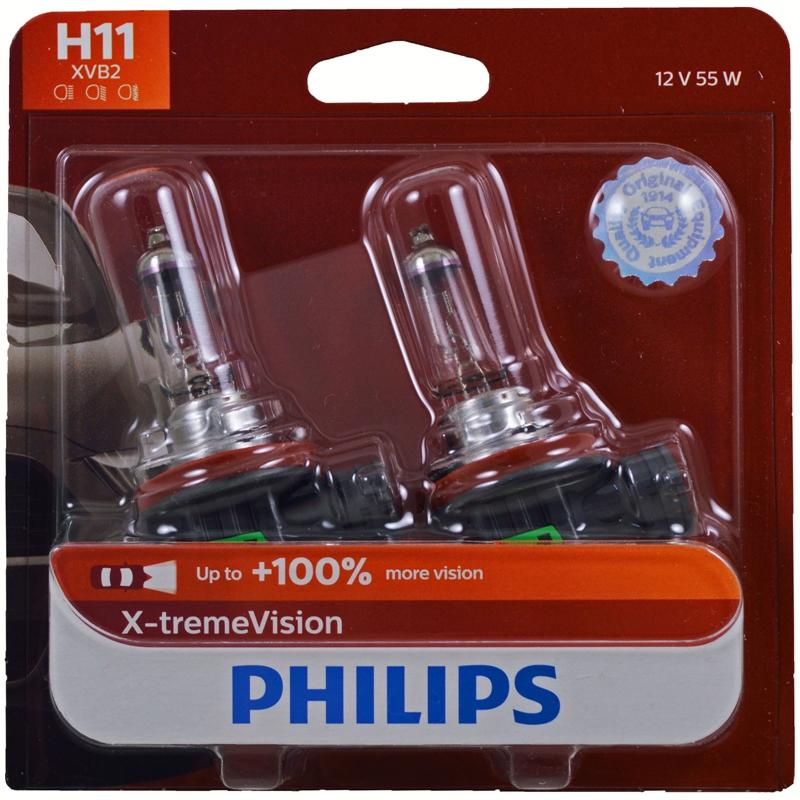 Philips X-treme Vision H11 55W Upgrade Halogen Headlight Bulb (2 Pack)
