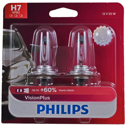 Philips Vision Plus H7 55W Upgrade Replacement Headlight Bulb (2 Pack)