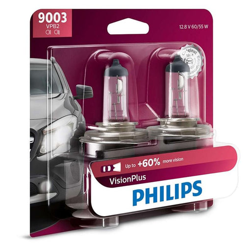 Philips Vision Plus 9003 60/55W + 60% More Light Two Bulb Headlight