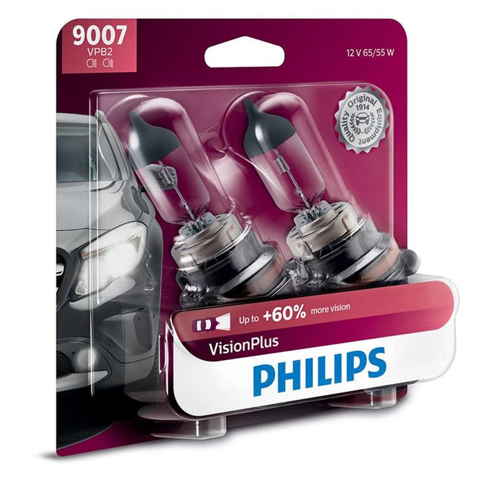 Philips Vision Plus 9007 65/55W + 60% More Light Two Bulb Headlight