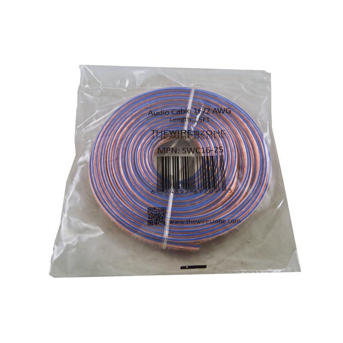16 Gauge 2 Conductor 16/2 Clear 25ft Speaker Wire for Car/Home Audio