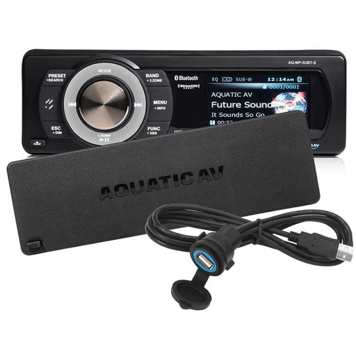 AquaticAV AQ-MP-5UBT-S Bluetooth USB SiriusXM Waterproof Marine Stereo