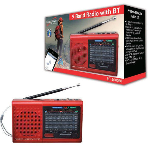 Supersonic SC-1080BT Red Rechargeable 9 Band AM/FM Bluetooth Radio