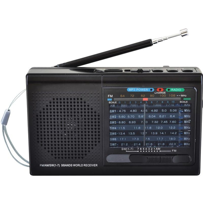 Supersonic SC-1080BT Black Rechargeable 9 Band AM/FM Bluetooth Radio