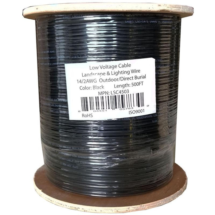 Black 500 Feet 14/2 AWG Outdoor Landscape Lighting Low Voltage Cable