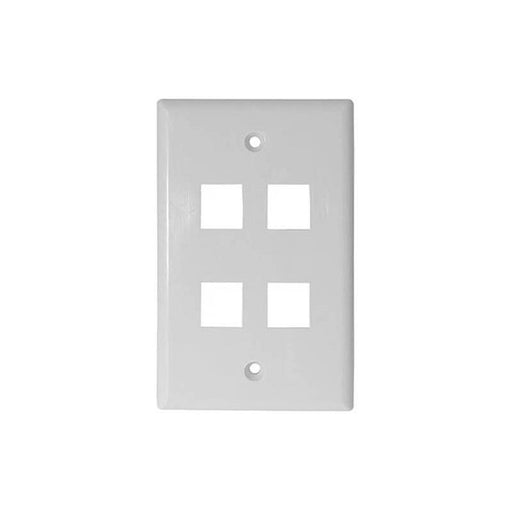 White 4 Port Hole Keystone Jack Flat Wall Plate