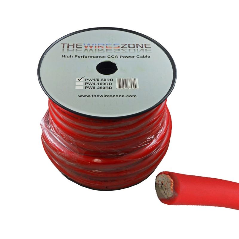 1/0 Gauge 50 Feet High Performance Amplifier Power Cable (Red)