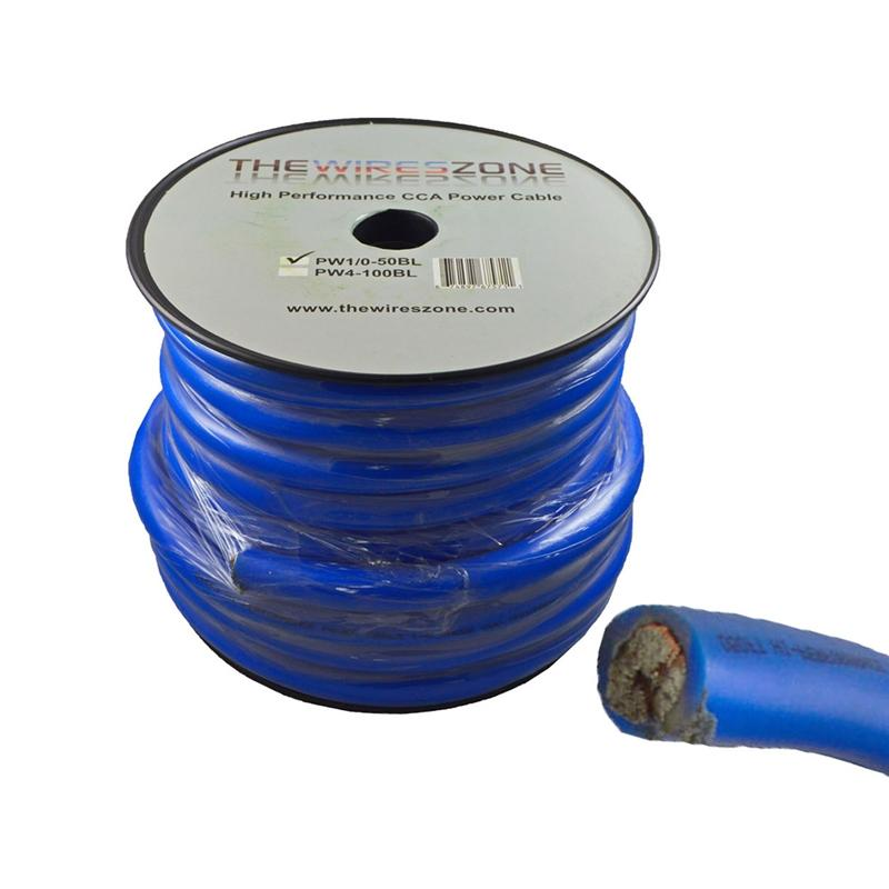 1/0 Gauge 50 Feet High Performance Amplifier Power/Ground Cable (Blue)