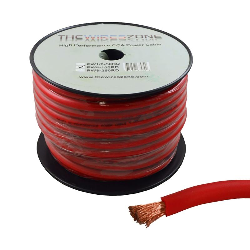 4 Gauge 100 Feet High Performance Amplifier Power Cable (Red)
