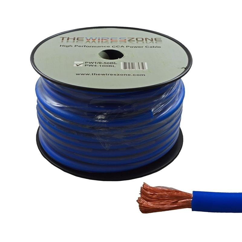 4 Gauge 100 Feet High Performance Amplifier Power/Ground Cable (Blue)