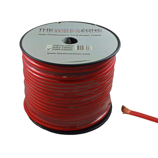 8 Gauge 250 Feet High Performance Amplifier Power Cable (Red)