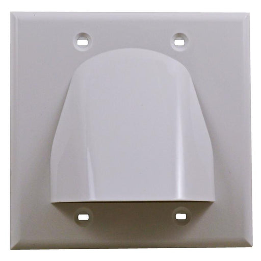 White Double-Gang Low Voltage Cable Pass Through Wall Face Plate
