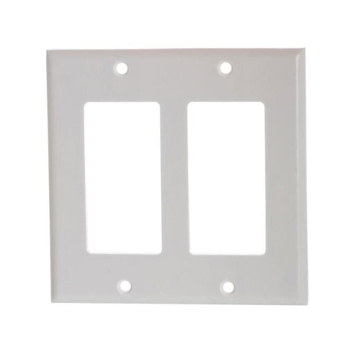 White Plastic Double-Gang Decora Style Wall Face Plate 2-Gang