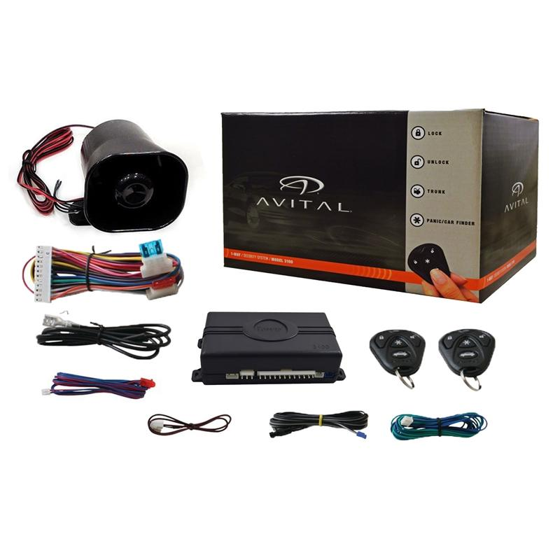 AVITAL 3100LX 5 PACK CAR ALARM SYSTEM W// 2 REMOTES AND KEYLESS ENTRY SECURITY