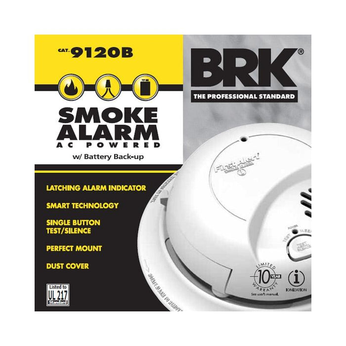First Alert BRK 9120B Hardwired Smoke Detector Alarm w/ Battery Backup